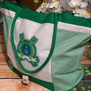 BIJOUX TERNER LARGE BEACH BAG GREEN AND WH…